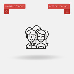Outline Couple In Love icon isolated on grey background. Line pictogram. Premium symbol for website design, mobile application, logo, ui. Editable stroke. Vector illustration. Eps10
