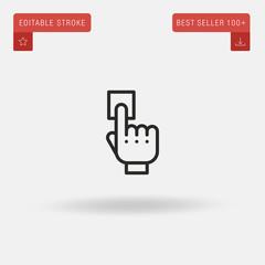 Outline Fingerprint icon isolated on grey background. Line pictogram. Premium symbol for website design, mobile application, logo, ui. Editable stroke. Vector illustration. Eps10