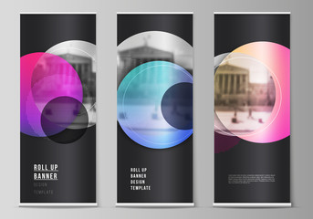 The vector illustration of the editable layout of roll up banner stands, vertical flyers, flags design business templates. Creative modern bright background with colorful circles and round shapes.