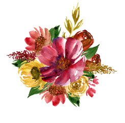 Vintage bouquet. Watercolor hand drawn