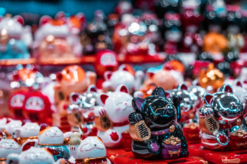 Fortune cats. Oriental souvenirs, mass produced for international export and trade.