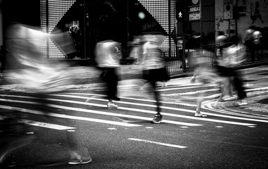 Pedestrians crossing the street on Hong Kong, Black & White style