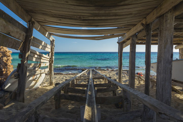 Interior of a fishing pier and the sea