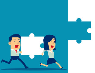 Business teamwork and Jigsaw. Concept business vector illustration, Achievement, Successful.