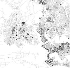 Mappa di Abidjan, vista satellitare, città, Costa d'Avorio. Strade e case. Africa