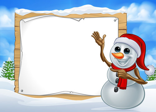 A snowman Christmas cartoon character wearing a Santa hat in a winter scene pointing at a sign