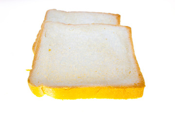 Pieces of bread on a white background