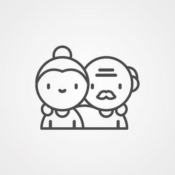 Elderly couple vector icon sign symbol