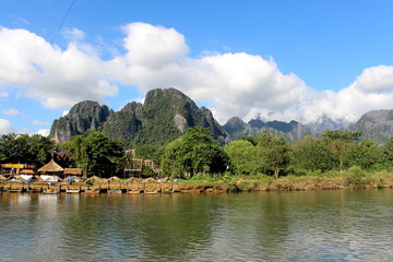 Vang Vieng, Laos - January 1, 2016 : Travel Song River, The river clear and  mountain view beautiful and blue sky