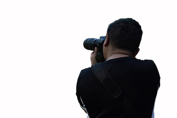 photographer takes a look from the back, on a white background