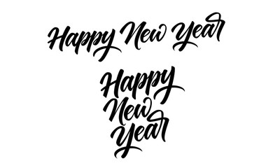Happy New Year Banner designs. Modern brush calligraphy isolated on white