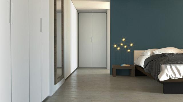 Camera da letto in stile moderno con armadi ed arredamento. Appartamento, progetto architettonico. 3d rendering