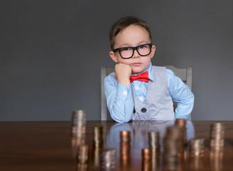 Child businessman with money