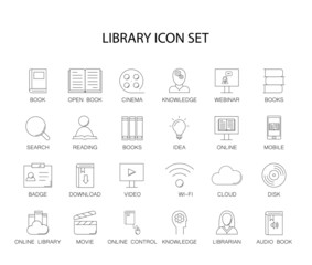 Line icons set. Library and online library pack. Vector illustration