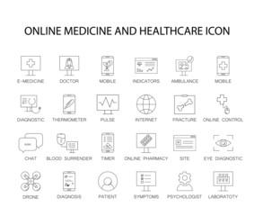 Line icons set. Online healthcare and medicine pack. Vector illustration