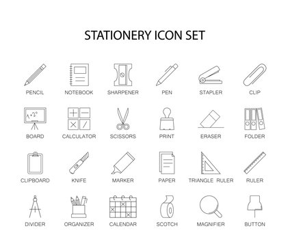 Line icons set. Stationery pack. Vector illustration