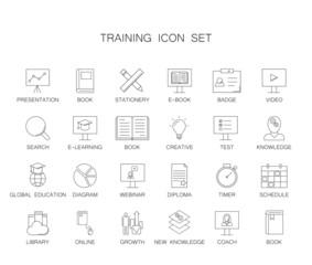 Training icon set. Line icon vector.