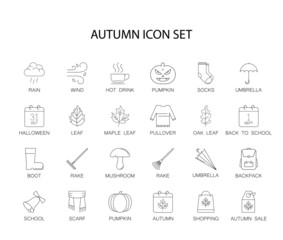 Line icons set. Autumn pack. Vector illustration