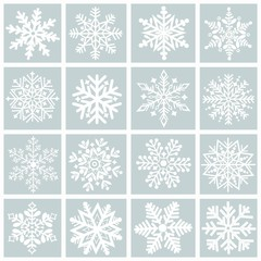 Greeting card with a set of  snowflakes