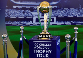 The 2019 ICC Cricket World Cup Trophy is seen during a trophy tour event