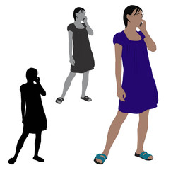 Flat colored illustration of a woman talking on a mobile phone