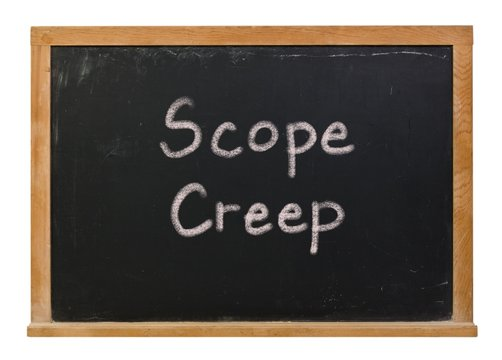 Scope creep written in white chalk on a black chalkboard isolated on white