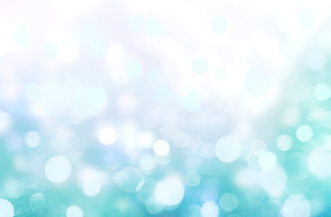 Blurred blue green background,christmas bokeh.
