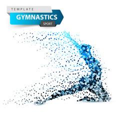 Gymnastics, sport - dot illustration on the white background. Vector eps 10