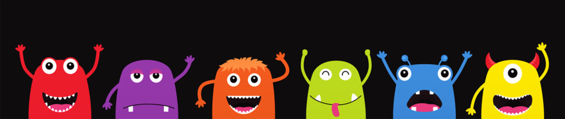Set of funny cartoon monsters. Characters Halloween on black background.