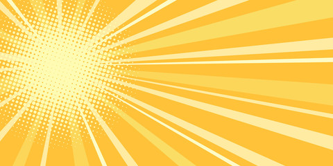 yellow sun pop art background
