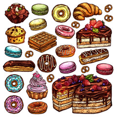 Sketch Collection Of Bakery Products, Dessert And Sweets. Hand Drawn Colorful Set With Cake, Cupcakes, Muffins, Macaroons, Donuts And Waffle