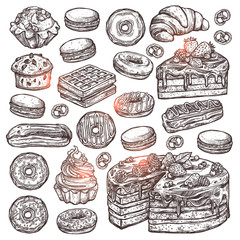 Sketch Collection Of Bakery Products, Dessert And Sweets. Hand Drawn Graphic Set With Cake, Cupcakes, Muffins, Macaroons, Donuts And Waffle
