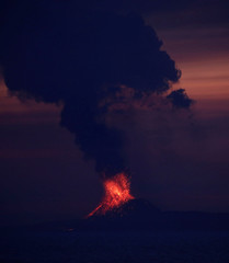 Anak Krakatau volcano is seen from Japanese helicopter carrier Kaga at the Indian Ocean