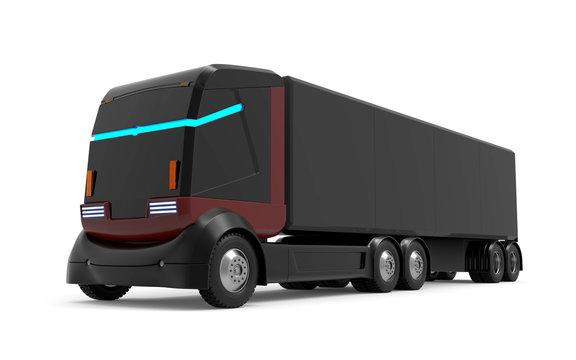 self-driving truck futuristic black