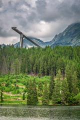 Wonderful Strbske Pleso and mountain lake in summer