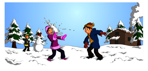 Vector illustration of happy children playing snowball fight together in the snow.