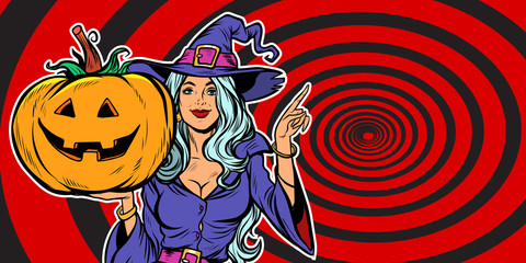 witch with Halloween pumpkin. Announce Party