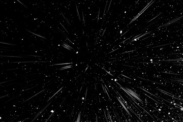 Bokeh white lines and spots on black background, abstraction, abstract speed light motion blur texture, particle or space traveling, black and white extrusion effect, illustration