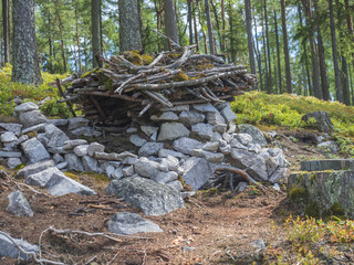 fairy tale house for dwarf in forest build by children from stones, wood and moss, playing in forest, tree background
