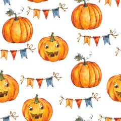 Watercolor Halloween party seamless pattern on white background