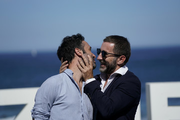 "Actor Antonio de la Torre and director Rodrigo Sorogoyen take part in a photo call to promote the feature film ""The Realm"" at the San Sebastian Film Festival"