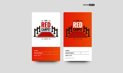 Welcome with Red Carpet Vector Illustration in Flat Style Tag ID Card