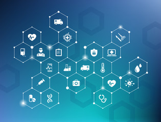 Fototapeta electronic healthcare vector illustration – e-health concept with connected white icons on blue background obraz
