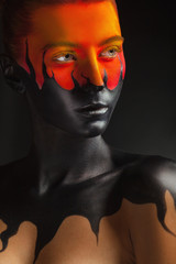 Foto op Canvas Body Paint Black tongues of flame