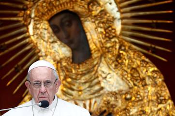Pope Francis speaks at the Gate of Dawn shrine in Vilnius