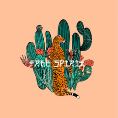 Free spirit slogan.Leopard with cactus. Typography graphic print, fashion drawing for t-shirts .Vector stickers,print, patches vintage
