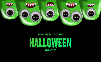halloween party invitation template with funny cute green jelly monster