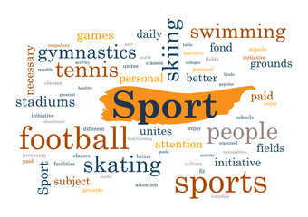 Sport topic Collage of words Vector illustration