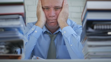 Businessman Image Staying Tired Bored and Upset in Office Room