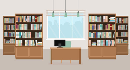 Modern library empty interior with bookcases, table, chair and computers. Vector illustration.